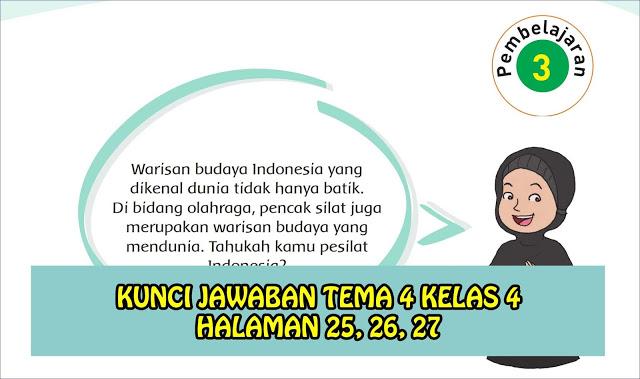 kunci jawaban halaman 25 26 27 tema 4 kelas 4 pembelajaran 3