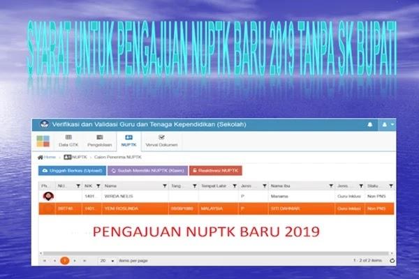 Syarat untuk Pengajuan NUPTK baru 2019 Tanpa SK Bupati