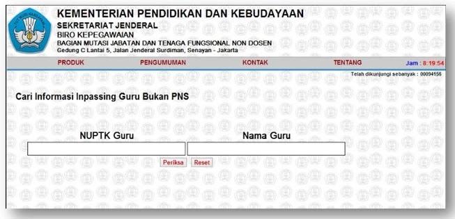 laman pengecekan SK Inpassing Guru Bukan PNS Tahun 2020